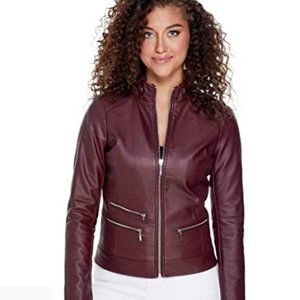 BNWT Guess Maroon Faux Leather Moto Jacket